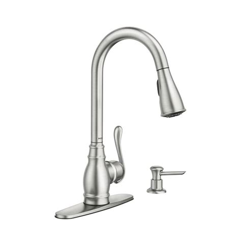 shop moen anabelle spot resist stainless 1 handle pull kitchen faucet at lowes