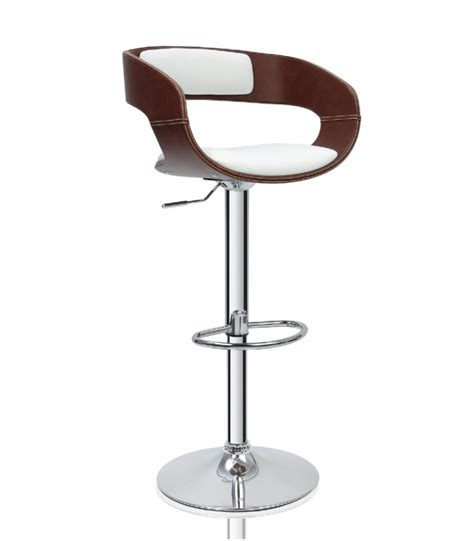 tabouret de bar design en similicuir marron et blanc