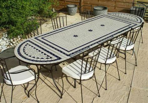 table jardin mosaique rectangle 200cm c 233 ramique blanche 2