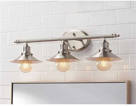 3-light Brushed Nickel Retro Vanity Light Above Mirror New Basement Construction Finished Atlanta Easy Ideas Pouring Cost Water Systems Stair Treads Pros And Cons Of Apartment How To Paint Ceiling