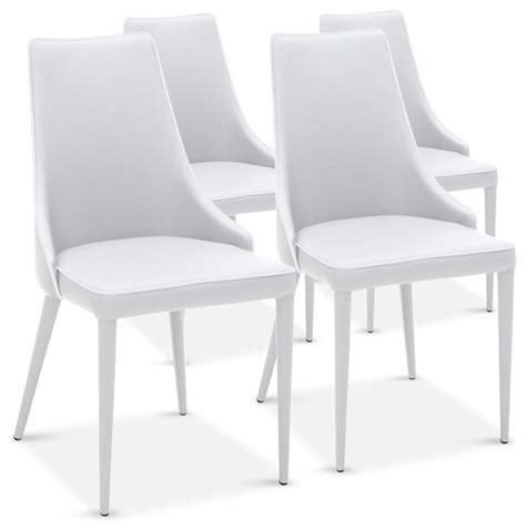 lot de 4 chaises drogo blanches design contemporain chaise de salle 224 manger par inside75