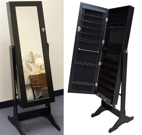 black wood mirrored jewelry armoire cabinet stand mirror necklace bracelet ring ebay