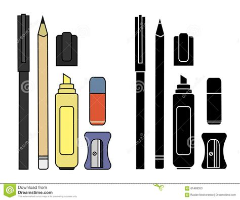 Stationery Writing Tools Set Color Silhouette Stock Vector  Image 61488353