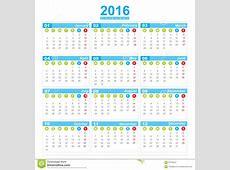 Comienzo Lunes De La Semana De Calendario 2016 Stock de