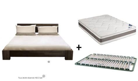 lit bois massif avec sommier et matelas chambre adulte de qualit