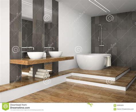 int 233 rieur de salle de bains avec le plancher en bois illustration stock image 58965826