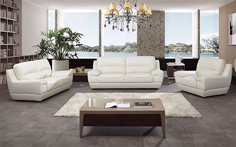 3 pc modern white italian top grain leather sofa loveseat chair living room set ebay