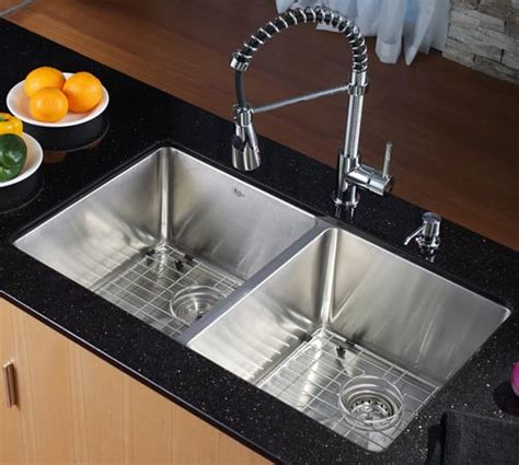 kraus khu10233kpf1612ksd30ch 33 inch undermount 50 50 bowl stainless steel sink with