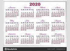 2020 calendario con números grandes — Archivo Imágenes