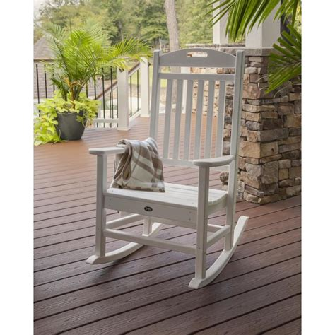 shop trex outdoor furniture yacht club classic white plastic patio rocking chair at lowes