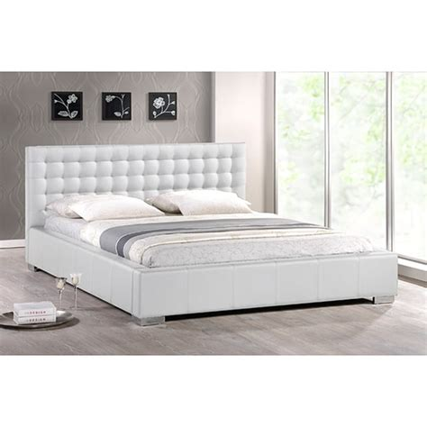 white modern king size bed with upholstered