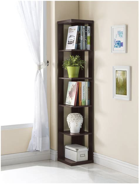 Corner Bookcase Review   Cappuccino Finish (5 Tier)