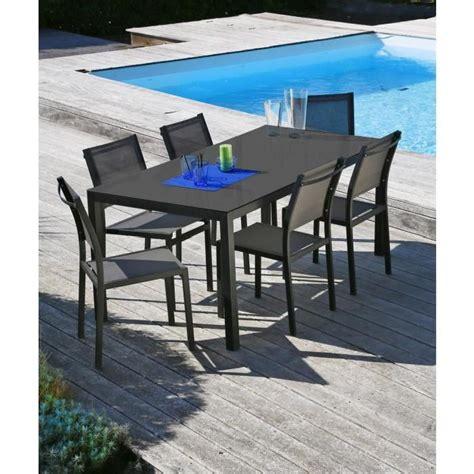 ensemble table de jardin 160 6 chaises aluminium gris achat vente salon de jardin table