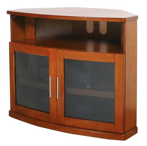 plateau newport series corner wood tv cabinet with glass doors for 26 42 inch screens black or