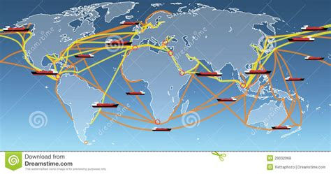 Ship Follow The Trade by World Shipping Routes Map Stock Photo Image Of Company