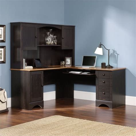 sauder harbor view corner antiqued paint computer desk ebay