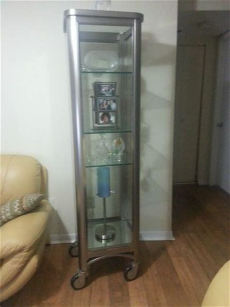 ethan allen stainless steel curio cabinet