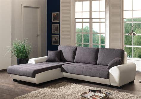 canap 233 d angle contemporain convertible en tissu coloris gris blanc iseult salon