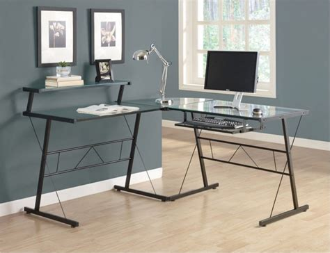 monarch black metal l shaped computer desk with tempered glass contemporary desks and