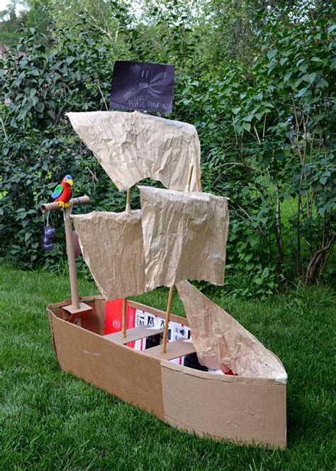 How To Make A Cardboard Boat With Only Duct Tape by Pirate Ship From Cardboard Maybe Only Make The Front Half