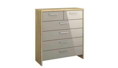 Sleepmasters 4 + 2 Drawer Chest Mirabel Sonoma Oak & Fango Glass From Sleepmasters  Plastic A4 Filing Drawers Keyboard Drawer Slides Nz Heavy Duty Over Extension Ibm Cash Manual Wooden Two Storage Unit Four Kitchen Liner Bathroom Stand Alone