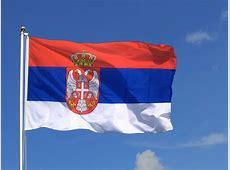 Große Serbien mit Wappen Flagge 150 x 250 cm