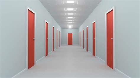 Corridor & Hallway : Hallway With Red Doors. Animation Of Camera Moving Through