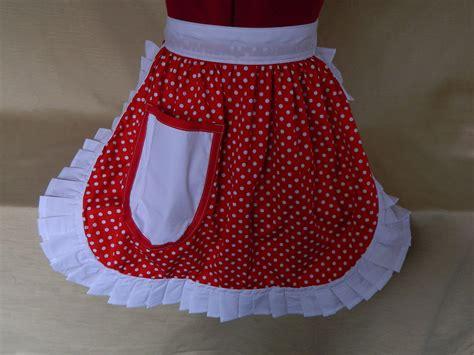 Retro Vintage S Style Half Apron / Pinny-red & White
