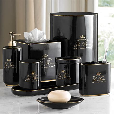 Le Bain Black & Gold Porcelain Bathroom Accessories   Eclectic   Bathroom Accessories   Other