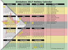 Zimbabwe 2017 2018 Holiday Calendar