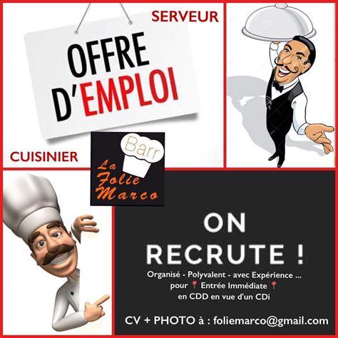 offre d emploi restaurant folie marco recrute