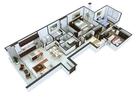 3d floor plan image 2 for the 1 bedroom studio floor plan 25 more 3 bedroom 3d floor plans architecture design