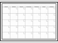 Large White Monthly Dry Erase Calendar Decal Decorative