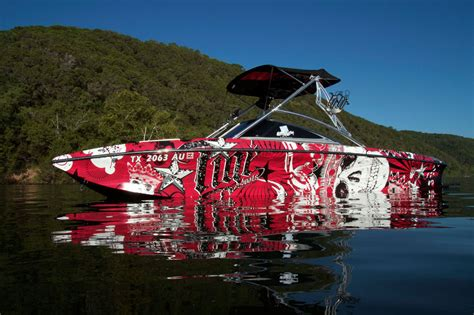 Red Boat Vinyl Wrap by Full Color Graphic Wraps By Wake Graphics