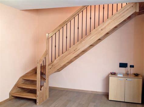 escalier quart tournant en bois avec garde corps acier