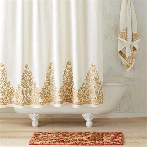 nadir pearl white gold shower curtain