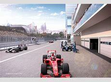 Pits and paddock, Baku street circuit rendering