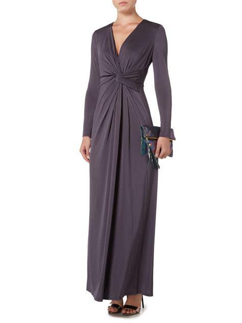 Biba Long Sleeve Knot Detail Event Maxi Dress in Gray