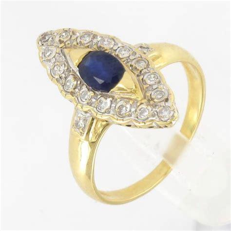 bague marquise or jaune saphir diamant