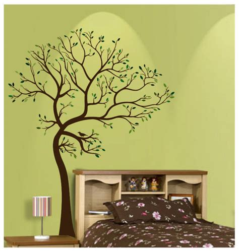 matte material large tree brown green wall decal