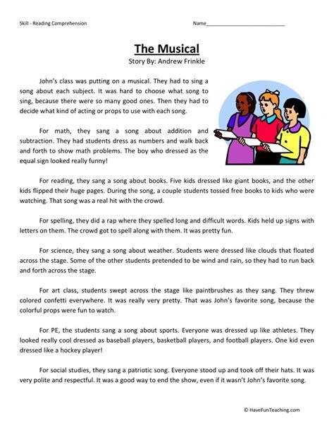 Reading Comprehension Worksheet  The Musical
