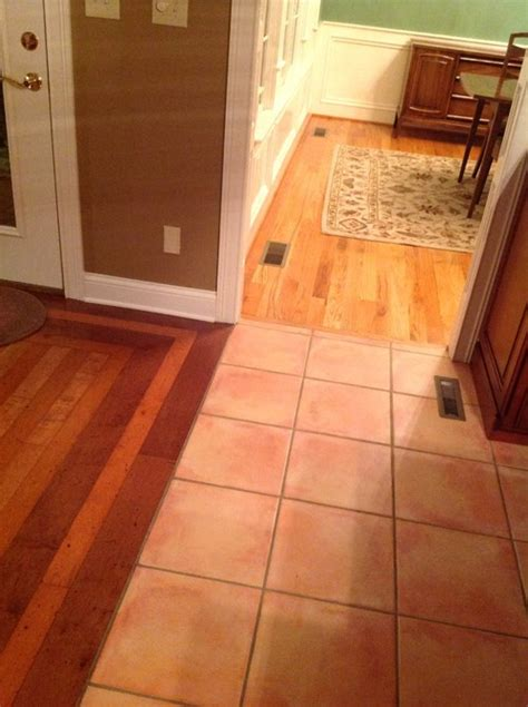 what to replace tile floor with in kitchen with 2 different flooring t