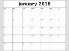 January 2018 Calendar Cute monthly printable calendar
