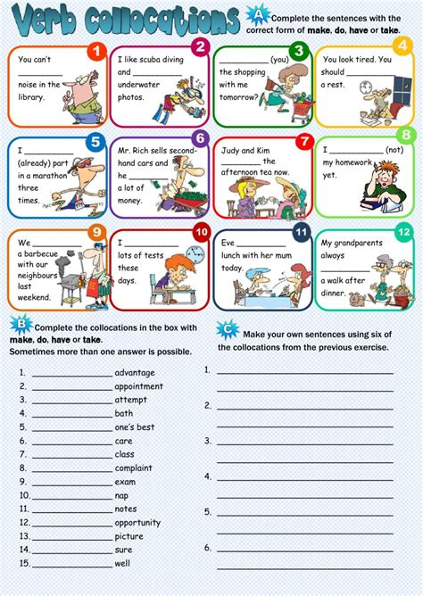 Verb Collocations  Interactive Worksheet
