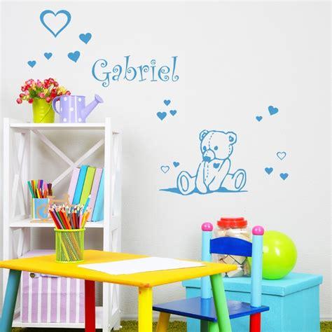 sticker petit ours personnalis 233 avec pr 233 nom d 233 coration enfant