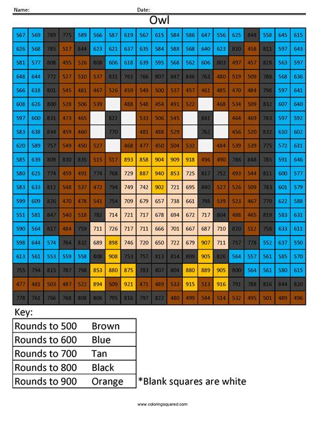 Owl Rounding Hundreds Place  Coloring Squared