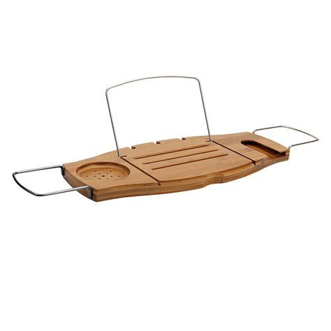 bamboo bathtub caddy with reading rack living giving umbra aquala bamboo bathtub caddy