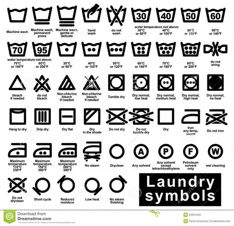 ensemble d ic 244 ne de symboles de blanchisserie photo stock image 34551640