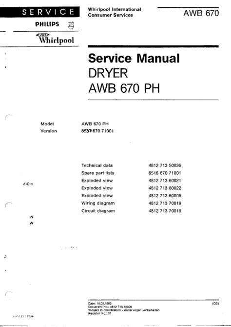 whirlpool awb 670 manuel de service t 233 l 233 charger pdf s 232 che linge anglais
