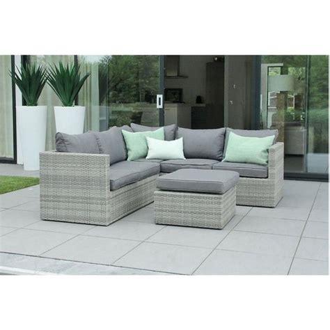 mobilier de jardin en r 233 sine tress 233 e design gris beige zelie 6 places achat vente salon de